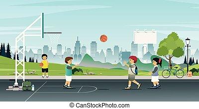 pallacanestro, gioco, bambini