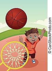 pallacanestro, gioco, capretto