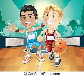 pallacanestro, gioco, indoor., bambini