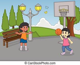 pallacanestro, ragazze, gioco