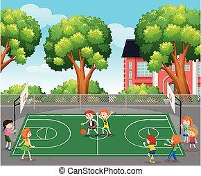 pallacanestro, scena, gioco, bambini