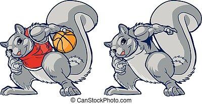 pallacanestro, scoiattolo, muscolare, giocatore, vettore, cartone animato, mascotte