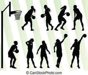 pallacanestro, set, vettore, fondo, silhouette, donne