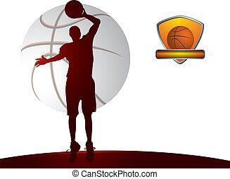 pallacanestro, vettore, -, fondo, illustrazione