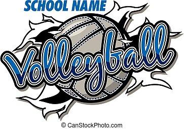 pallavolo, disegno, squadra