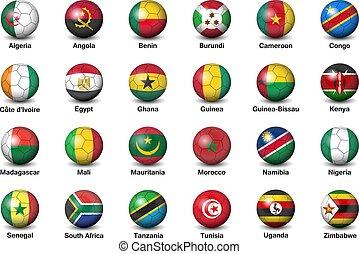 palle calcio, tazza, africa, football, torneo, bandiere, 2019, paesi, finale