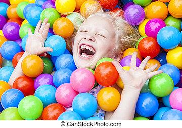 palle, colorato, gioco, biondo, bambino, divertimento, ragazza, detenere
