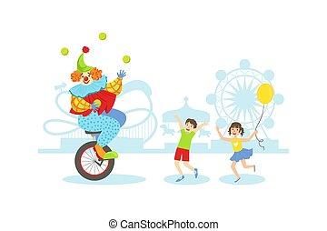 palle, felice, festa, pagliaccio, unicycle, divertimento, circo, bambini, divertente, vacanza, illustrazione, manipolazione, detenere, vettore