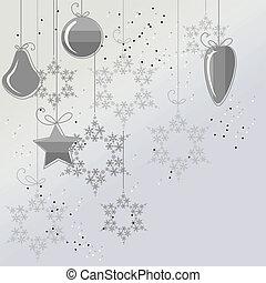 palle, fiocchi neve, luce, contorno, fondo, natale