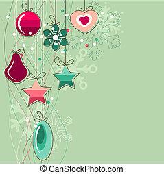 palle, luce, natale, stilizzato, sfondo verde, contorno