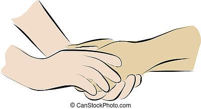 palliative, presa, cura, mani