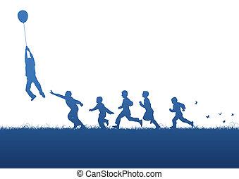 pallone blu, sopra, bambini