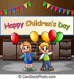 palloni, giorno, felice, bambini, bambini, concetto, presa a terra