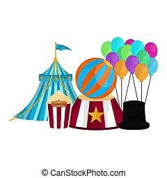 palloni, mago, tenda circus, cappello