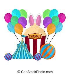 palloni, spuntino, popcorn, tenda circus