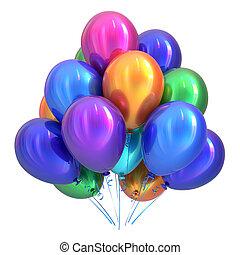 palloni, variopinto, decorazione, festa compleanno, elio, felice