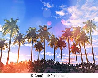 palma, paesaggio, 3d