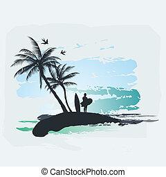 palma, surf, albero