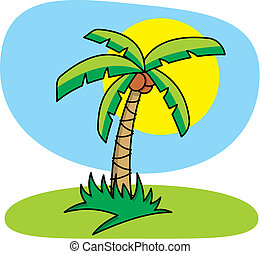 palma, vettore, albero