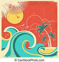 palms., struttura, tropicale, carta, vecchio, fondo, mare, isola, vettore, manifesto, vendemmia