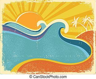 palms., vecchio, vendemmia, manifesto, illustrazione, caldo, carta, struttura, mare, onde, giorno, paesaggio