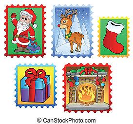palo, 2, vario, natale, francobolli