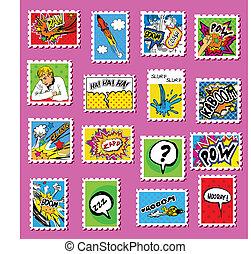 palo, francobolli, arte, comico, collezione