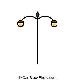 palo, icona lampada, luce stradale