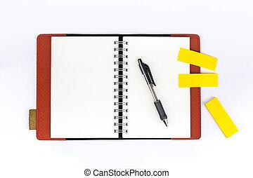 palo, quaderno, aperto, esso