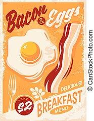pancetta affumicata, colazione, uova, menu