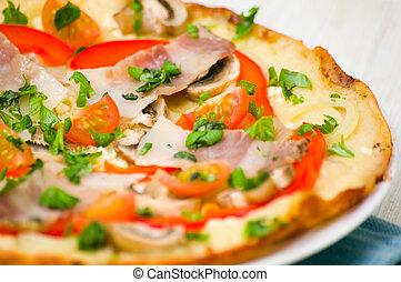 pancetta affumicata, funghi, pizza