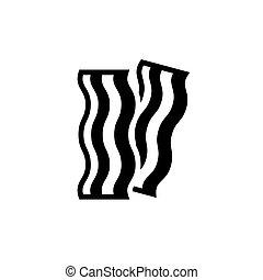 pancetta affumicata, nero, striscia, fondo, bianco, icona