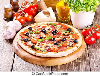 pancetta affumicata, ogive, verdura, pizza