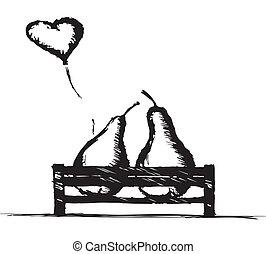 panchina, amore, pere