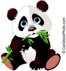 panda, mangiare, bambù
