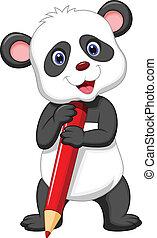 panda, presa a terra, orso, carino, cartone animato, rosso