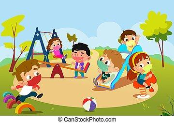 pandemia, campo di gioco, gioco, bambini, illustrazione, durante