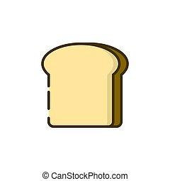 pane tostato, colorare, bread, contorno, icona