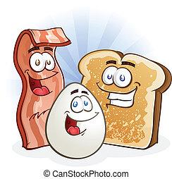 pane tostato, pancetta affumicata, uovo, cartoni animati