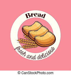 pane tostato, panetteria, vettore, disegno, bread