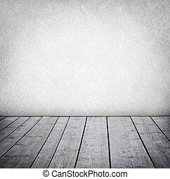 paneled, grunge, parete, pavimento, room., legno, interno