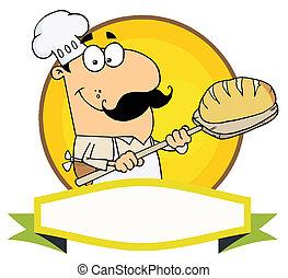 panettiere, caucasico, presa a terra, bread