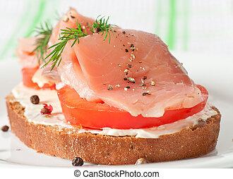 panino, salmone, appetitoso