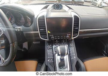 pannelli, premio, dashboard., cronometro, carbonio, marrone, cuoio, interno, nero, suv, pdk, gearbox
