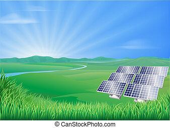 pannello, paesaggio, illustrazione, solare