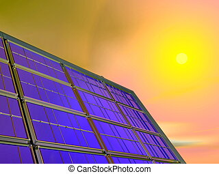 pannello, -, solare, render, 3d