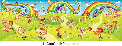 panorama, bambini, seamless, tuo, bambini, disegno, playground., gioco