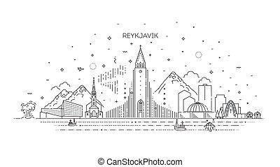 panorama, linea, reykjavik, orizzonte, islanda