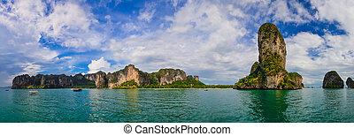 panorama, oceano, tropicale, tailandia, krabi, spiagge