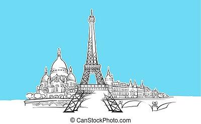 panorama, parigi, vettore, schizzo, francia, orizzonte